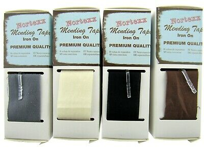 Nortexx Iron On Mending Tape Repair Fabric 100/% Cotton 1m x 35mm ALL COLOURS
