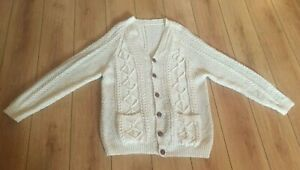 Mens-Aran-Wool-Cardigan-Sweater-48-Hand-Knit-XL-Long-Button-V-White-Cable-Paddys