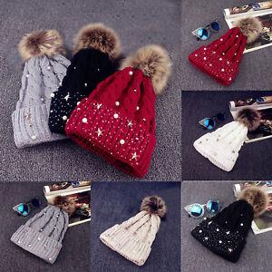 Mode Damen Faux Fur Beanie Winter Warm Häkeln Gestrickt Hut Ski Cap