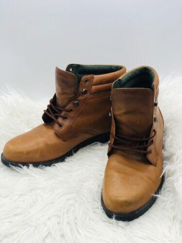 Mens Cognac Leather Docker Boots Size 12