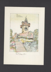 EXLIBRIS-004b-Karel-Benes-034-Grazer-Uhrturm-034-signiert-signed