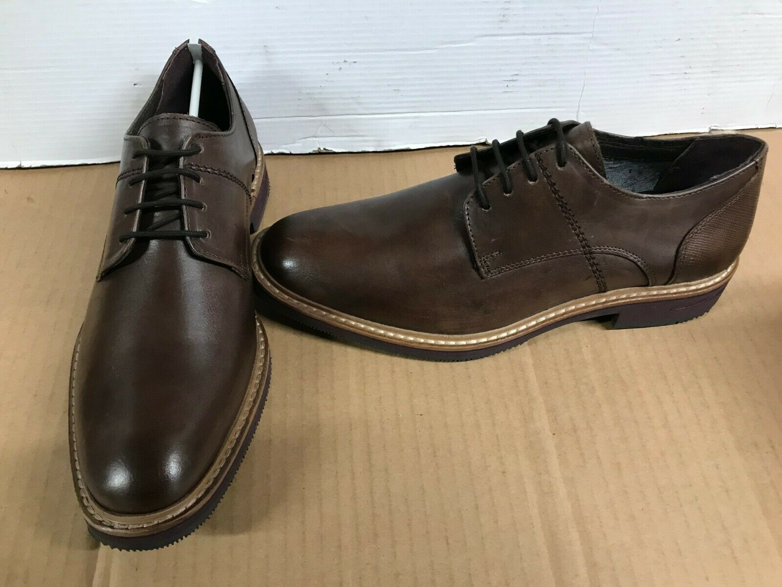 Hush Puppies POINTER Leather lace Up Derby shoes Bordo uk 7 eur 41 tan brown