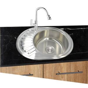 Dettagli su 1 Lavello Cucina Acciaio Inox 304 Ovale Rotondo Ablagefläche  Incasso 57x45