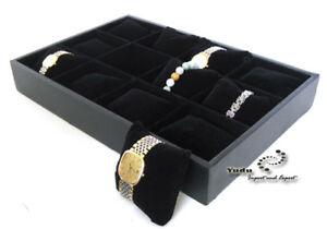 Watches-Presentation-Board-Uhrenkaste-Velours-Cushion-for-12-Watches-Black