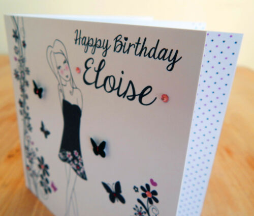 Birthday card for girl personalised with name Special handmade girly card