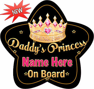 Personalised-Daddy-039-s-Princess-Star-Shaped-Baby-On-Board-Car-Sign-New-Black-Go