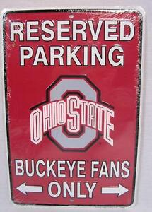 Rerserved Parking Ohio State Buckeyes Fans Only Aluminum Metal Sign Man Fan Cave
