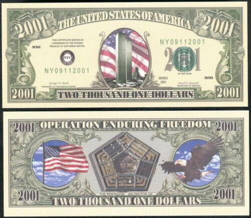 Lot of 2 Bills WTC PENTAGON 2001 COMMEMORATIVE BILL