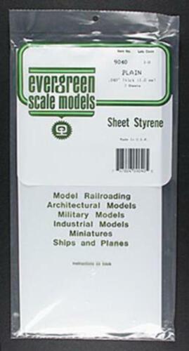 9040 2pc Evergreen Sheet Plain Styrene Plastic .040x6x12inch 1x152x305mm