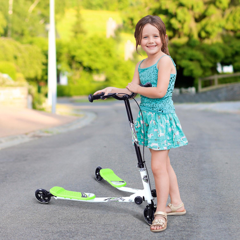 HOMCOM Kids 3 Wheels Foldable Speeder Scooter Slider Winged Push Motion