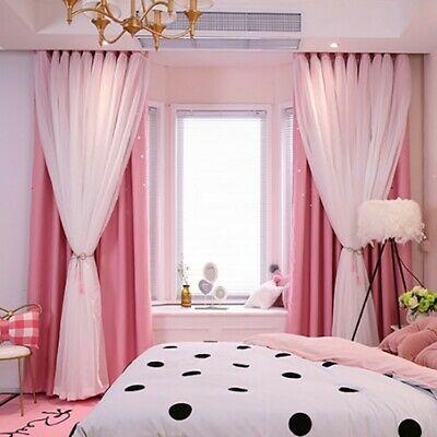 Double-layer Curtains Blackout Floor Curtain Starry Curtains Girls Bedroom  Decor | eBay