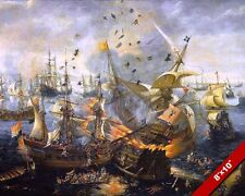 NAVAL BATTLE OF GIBRALTAR DUTCH SPANISH PAINTING 80 YEARS WAR ART CANVAS PRINT