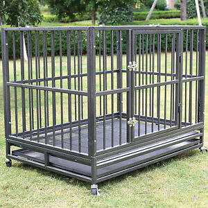 XXL-42-034-Heavy-Duty-Dog-Pet-Cage-Crate-Kennel-Playpen-Exercise-Pan-w-Tray-New