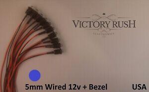 10pcs-5mm-Blue-Round-Clear-Pre-Wired-LEDs-Light-12v-Bezel-Holders-USA