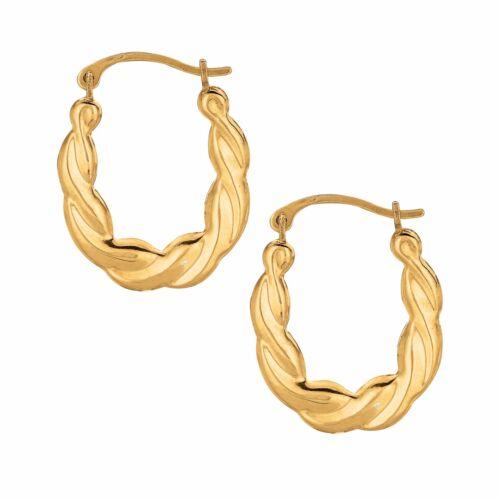 10K Real Yellow Gold Twisted Tubular Hoops Hoop 15mm
