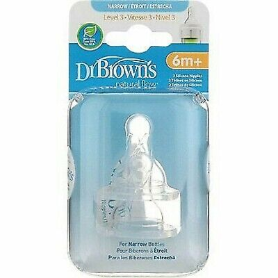 Brown/'s Natural Flow Standard Silicone Bottle Nipple Dr Level 3 6m+ 2 Ct