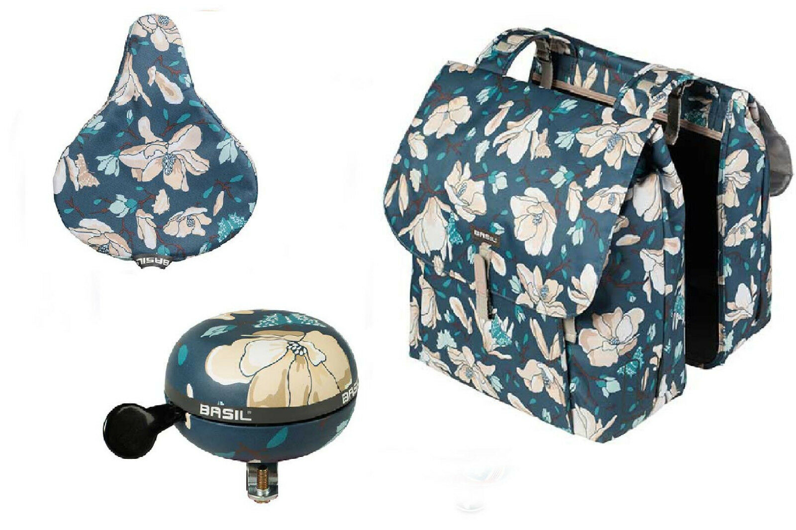 Set  bolsa doble Magnolia Double Bag 35 litros & campana & sillín referencia Teal azul