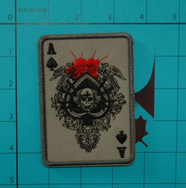 ACE OF SPADES DEATH SKULL CARD MORALE PATCH USA ARMY