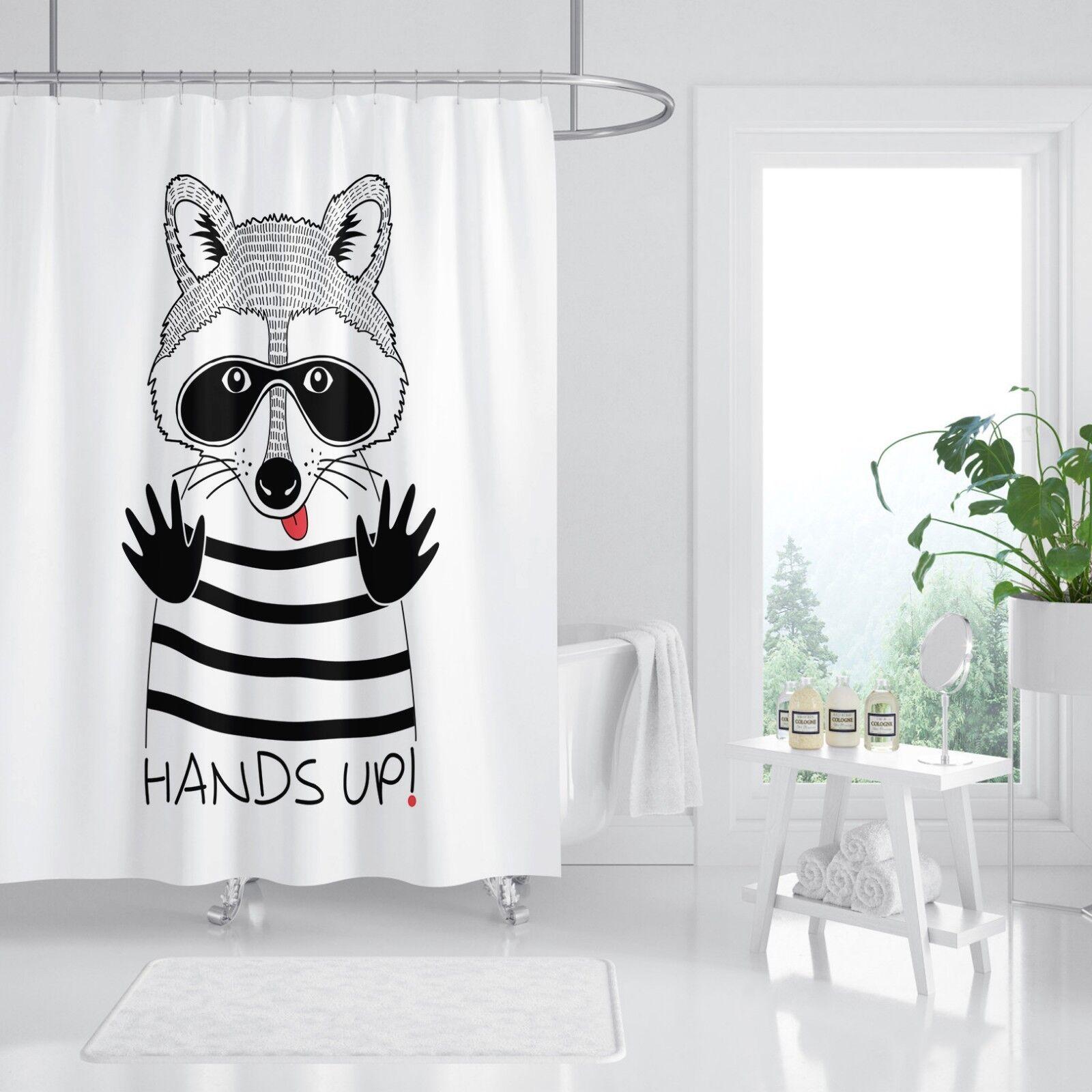 3D Noir Blanc 4 Rideau de Douche Imperméable Fibre Salle de Bain Home Windows Toilette
