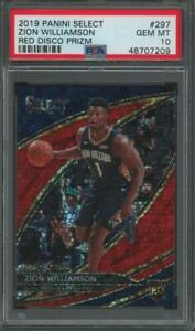 2019-Select-Red-Disco-Prizm-Courtside-Zion-Williamson-30-49-RC-Gem-Mint-PSA-10
