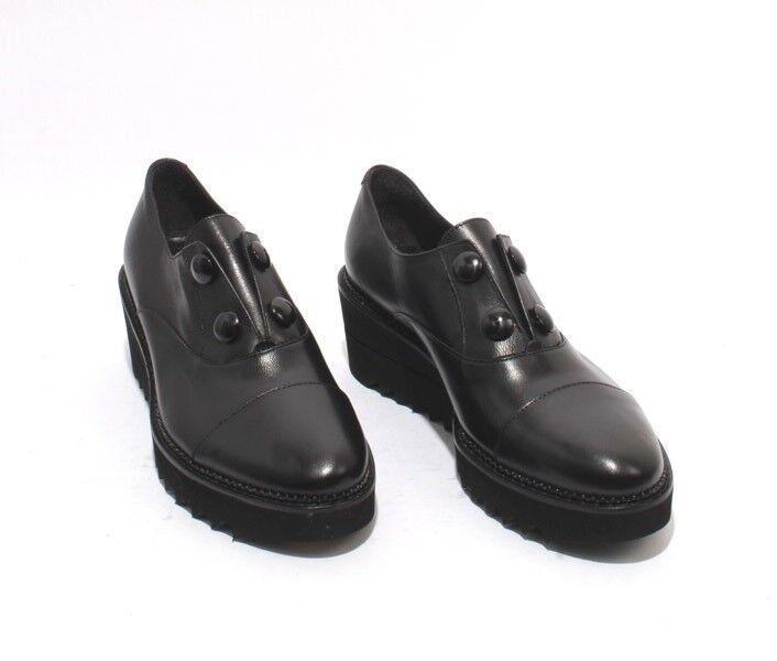 Luca Grossi 108a Negro Cuero Elástico Mocasín Zapatos de cuña cuña de de confort 40 US 10 b03230