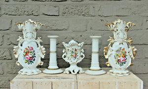 antique vieux paris porcelain  hand paint floral porcelain vases mantel set