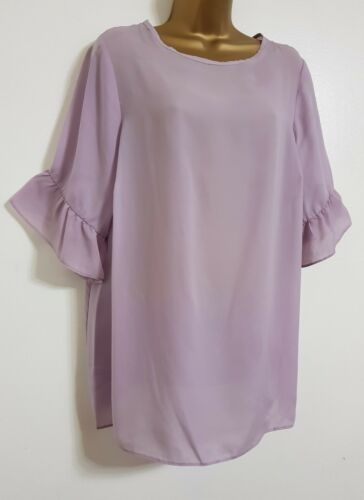 NEW Plus Size 16-32 Bell Fluted Sleeve Purple Chiffon Tunic Top Blouse Summer