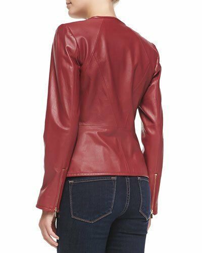 Real Genuine Slim Biker Wj341 Coat Us Ladies Leather New Women Fit Jacket qR1n4EE7