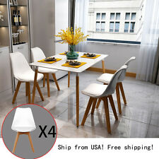 Set of 4 Modern PU Leather Chair Soft Padded Seats Dining Chairs w/ Wooden Leg