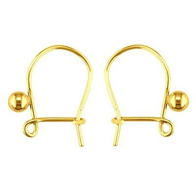 1 x Pair 9ct Yellow Gold Plain Safety Ear Hook Wires for Earrings Yellow Gold