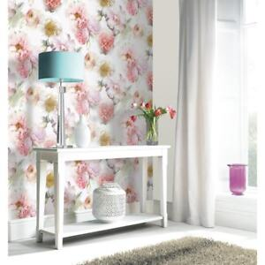 Details About Arthouse Bloom Floral Rose Glitter Wallpaper Blush 257000