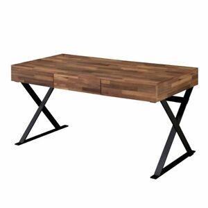 Furniture Of America Riley Industrial Writing Desk In Oak And Black