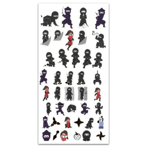 CUTE NINJA STICKERS Japanese Paper Foil Sticker Sheet Craft Scrapbook Kawaii NEW
