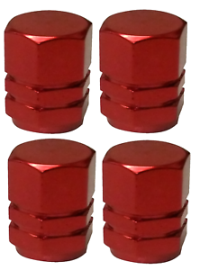 Red Hexagonal High Quality Metal Metallic Dust Caps Pack Of 4 Caps