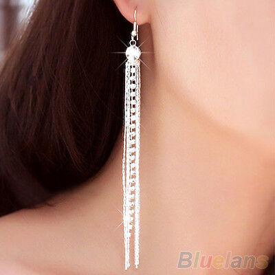 Womens Delicate Silver Rhinestone Long Tassels Drop Hook Dangle Linear Earrings