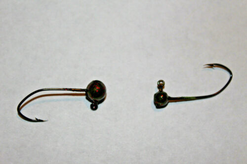 15-100 ct Painted No Collar Round Head Jigs 1//32-1//4oz w// #2 Black Sickle  Lot