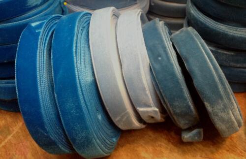 "VINTAGE 5//8/"" VELVET ribbon MADE IN ENGLAND 3 yds Turquoise Powder Blue or Teal"