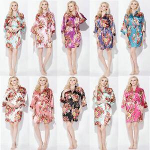 1f178d98f4 Floral satin bridesmaid robes gowns bride bath robe wedding kimono ...
