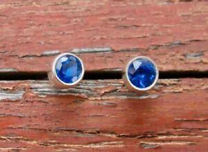 Blue-Kyanite-Gemstone-Silver-Stud-Earrings