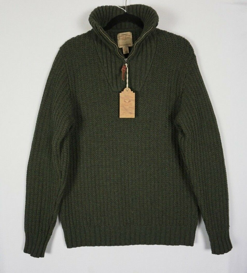 Telluride Mens 1 4 Zip Elbow Patch Lambswool Blend Green Cable Sweater Large NWT
