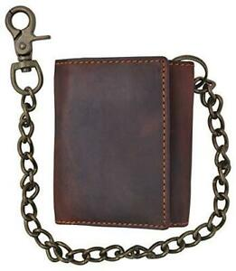 Brown-Handcrafted-Leather-Mens-Biker-Chain-Wallet-Trucker-Motorcycle-U-S-Seller