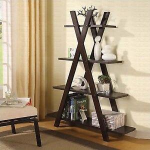 Coaster Bookshelf Contemporary Cappuccino X Shape 4 Storage Shelves Bookcase