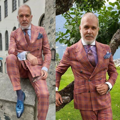 Striped Men Suits Tailored Fit Check Plaid Wedding Formal Tuxedos Blazer Pants