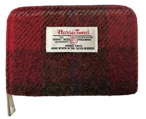 HARRIS-TWEED-PURSE-ZIP-WALLET-POUCH-ID-COIN-CASE-TARTAN-PINK-RED-GIFT