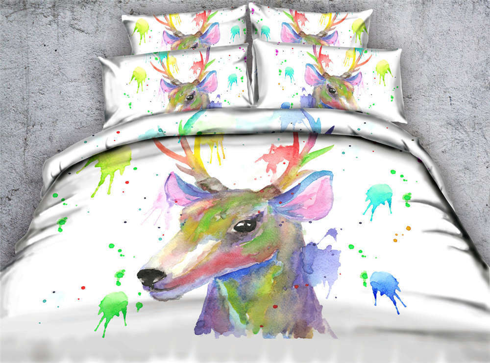 Deer Strewn Paint 3D Printing Duvet Quilt Doona Covers Pillow Case Bedding Sets