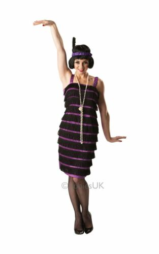 LADIES FLAPPER FANCY DRESS 20s CHARLESTON GATSBY GIRL 30s PURPLE COSTUME OUTFIT
