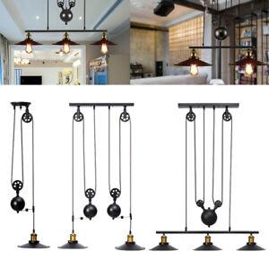 Vintage Pulley Pendant Loft Ceiling Light Hanging Lamp Lighting Art