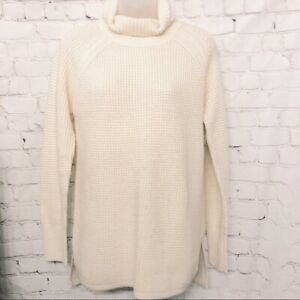 Details about BANANA REPUBLIC CREAM WAFFLE KNIT TURTLENECK SWEATER WOMENS SIZE SMALL