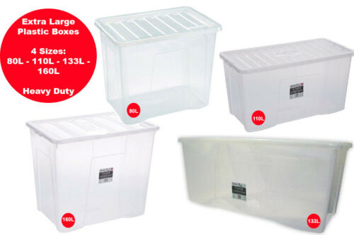 HOUSE MOVE EXTRA LARGE PLASTIC STORAGE BOXES STRONG//DURABLE TIDYING UP
