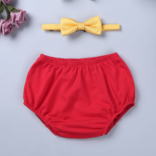 Baby Boys 1st Birthday Outfit Diaper Cover Bloomer Bowtie Cake Smash Photo Props